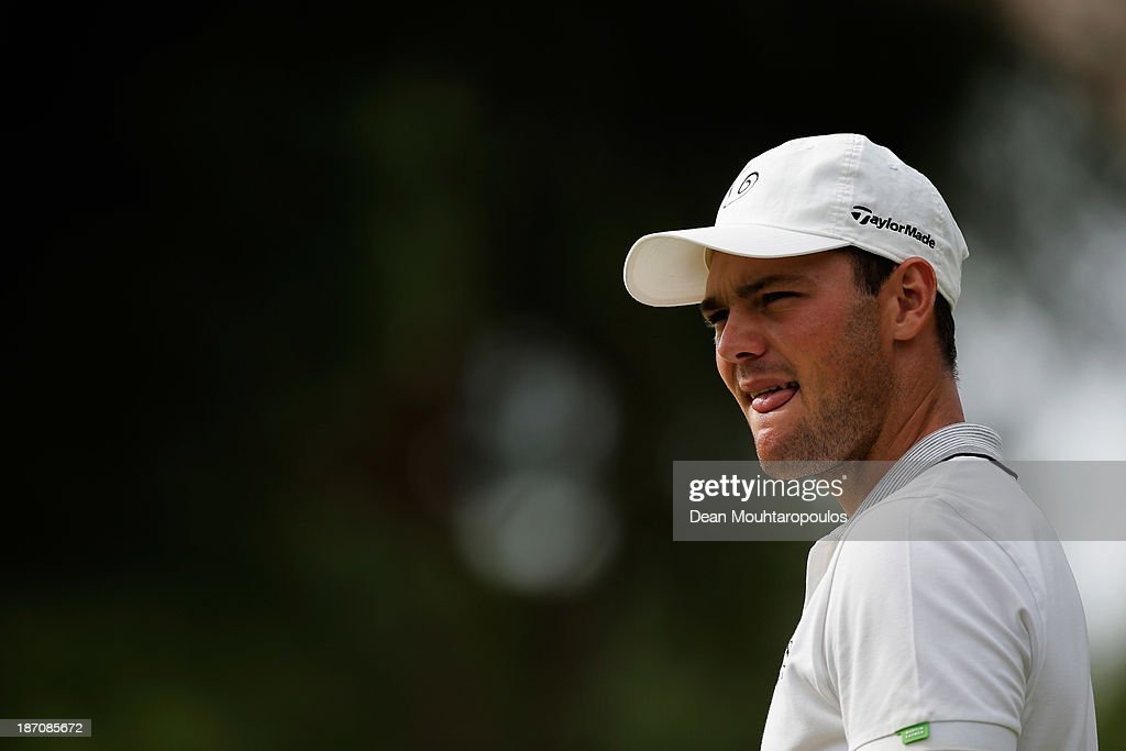 Martin Kaymer of Germany looks on after he putts on the 2nd green during the pro-am as a preview for the Turkish Airlines Open at Montgomerie Maxx Royal Course on November 6, 2013 in Antalya, Turkey.