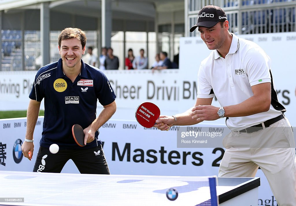 <a gi-track='captionPersonalityLinkClicked' href=/galleries/search?phrase=Martin+Kaymer&family=editorial&specificpeople=2143733 ng-click='$event.stopPropagation()'>Martin Kaymer</a> of Germany (right) playing table tennis with <a gi-track='captionPersonalityLinkClicked' href=/galleries/search?phrase=Timo+Boll&family=editorial&specificpeople=204430 ng-click='$event.stopPropagation()'>Timo Boll</a> of Germany during the photocall prior the start of the BMW Masters at the Lake Malaren Golf Club on October 23, 2012 in Shanghai, China.