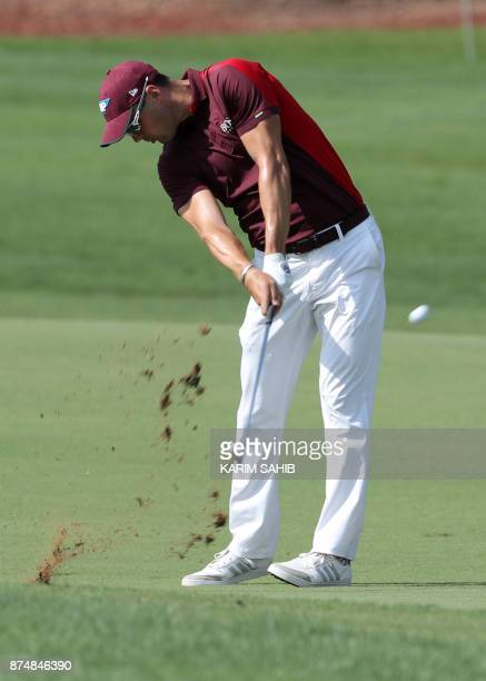 Martin Kaymer of Germany plays a shot during the first round of the DP World Tour Championship at Jumeirah Golf Estates in Dubai on November 16 2017...