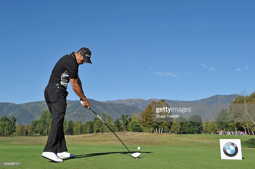 Martin Kaymer of Germany plays a shot during the second round of the BMW Italian open at Royal Park Golf & Country Club on September 14, 2012 in Turin, Italy.