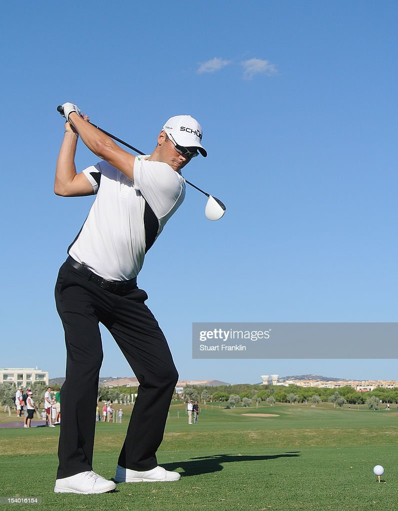 <a gi-track='captionPersonalityLinkClicked' href=/galleries/search?phrase=Martin+Kaymer&family=editorial&specificpeople=2143733 ng-click='$event.stopPropagation()'>Martin Kaymer</a> of Germany plays a shot during the second round of the Portugal Masters at the Victoria golf course at Villamoura on October 12, 2012 in Faro, Portugal