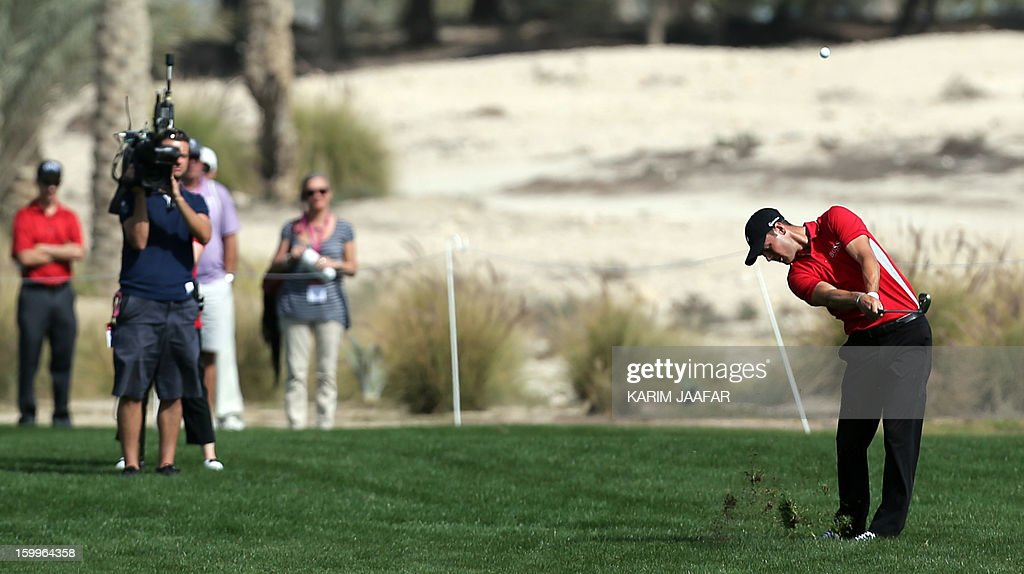 Martin Kaymer of Germany plays a shot during the second round of the Qatar Masters Golf tournament in Doha on January 24, 2013.