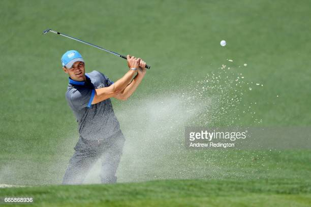 Martin Kaymer of Germany plays a shot from a bunker on the second hole during the second round of the 2017 Masters Tournament at Augusta National...