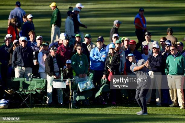 Martin Kaymer of Germany plays a shot on the 15th hole during the second round of the 2017 Masters Tournament at Augusta National Golf Club on April...
