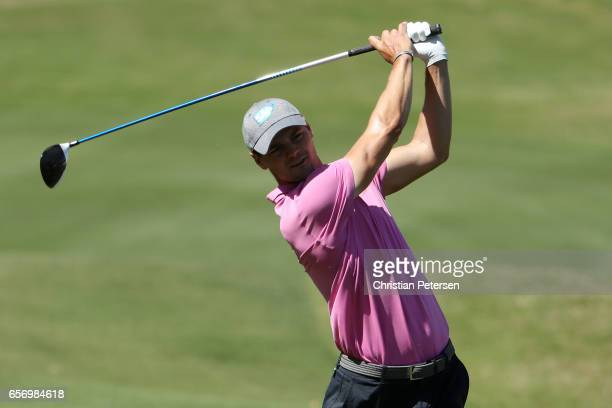 Martin Kaymer of Germany plays a shot on the 16th hole of his match during round two of the World Golf ChampionshipsDell Technologies Match Play at...