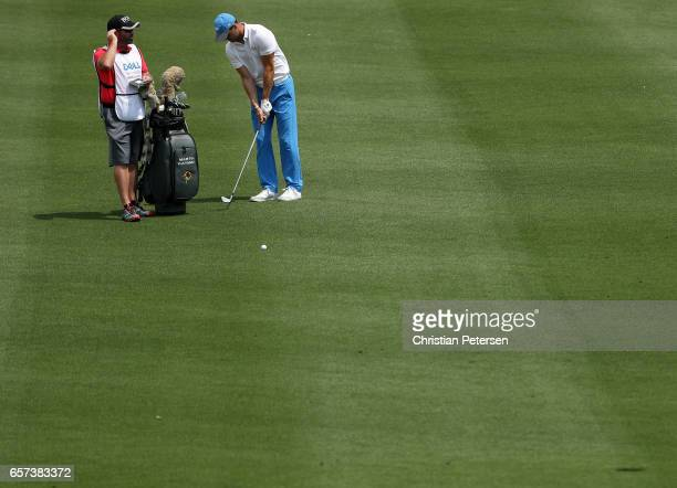 Martin Kaymer of Germany plays a shot on the 2nd hole of his match during round three of the World Golf ChampionshipsDell Technologies Match Play at...