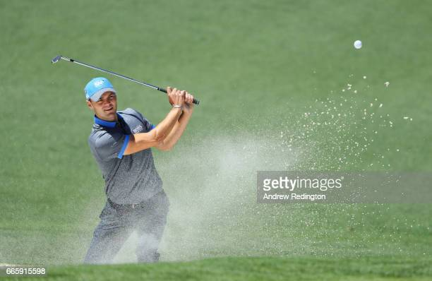 Martin Kaymer of Germany plays a shot on the second hole during the second round of the 2017 Masters Tournament at Augusta National Golf Club on...