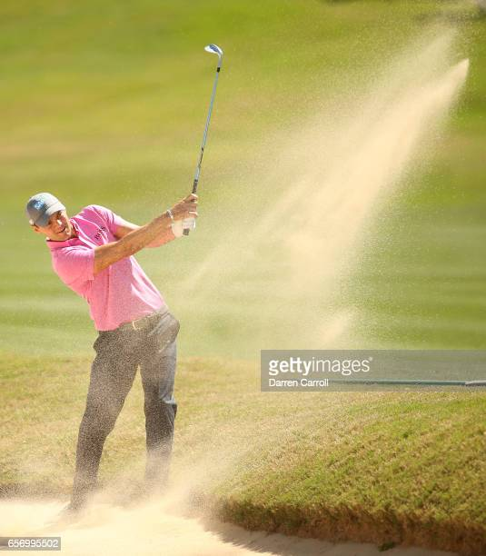 Martin Kaymer of Germany plays a shot out of a bunker on the 15th hole of his match during round two of the World Golf ChampionshipsDell Technologies...