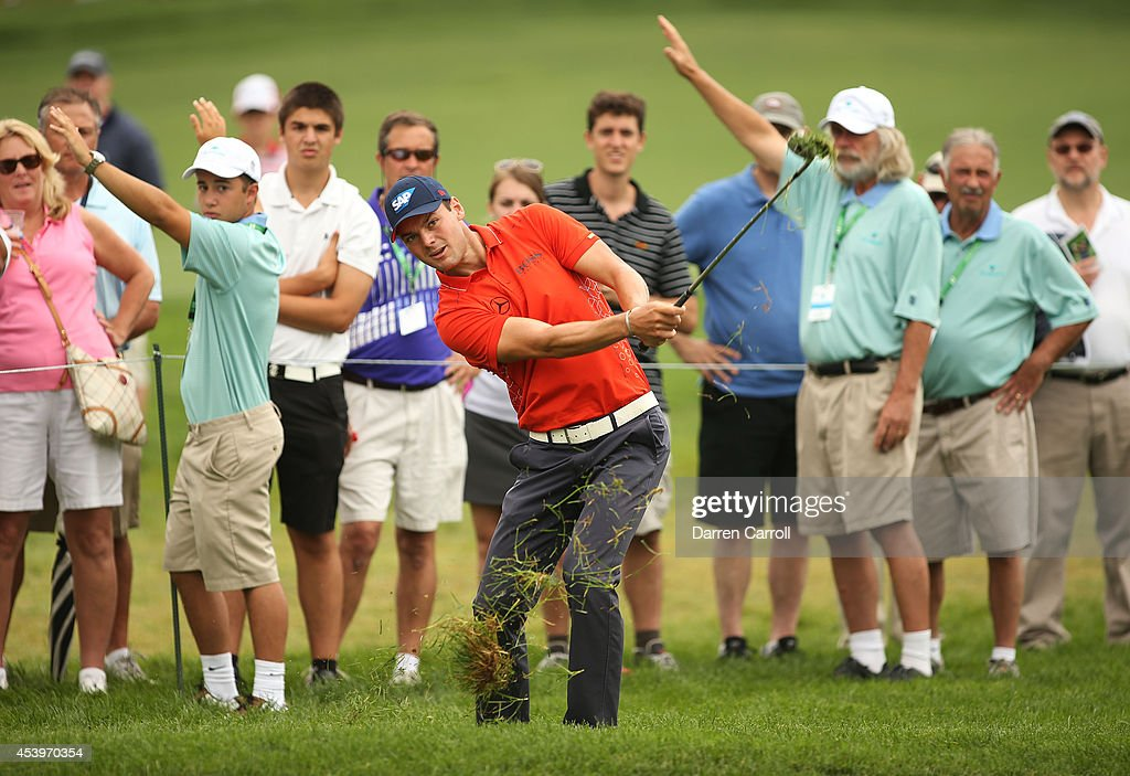 Martin Kaymer of Germany plays his second shot on the 10th hole during the second round of The Barclays at The Ridgewood Country Club on August 22, 2014 in Paramus, New Jersey.