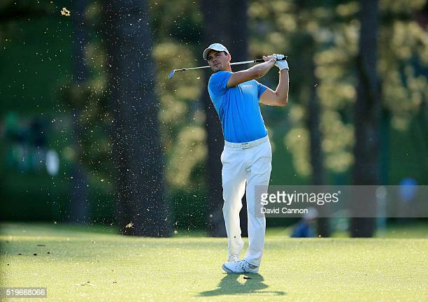 Martin Kaymer of Germany plays his second shot on the 17th hole during the first round of the 2016 Masters Tournament at Augusta National Golf Club...