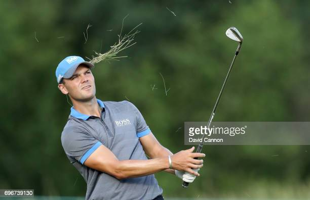 Martin Kaymer of Germany plays his second shot on the par 5 15th hole during the second round of the 117th US Open Championship at Erin Hills on June...