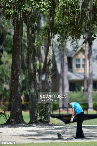 Martin Kaymer of Germany plays his second shot on the third hole during the third round of the 2017 RBC Heritage at Harbour Town Golf Links on April...