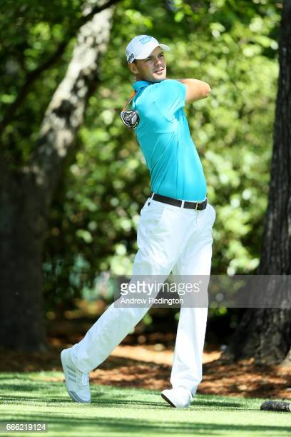 Martin Kaymer of Germany plays his shot from the second tee during the third round of the 2017 Masters Tournament at Augusta National Golf Club on...