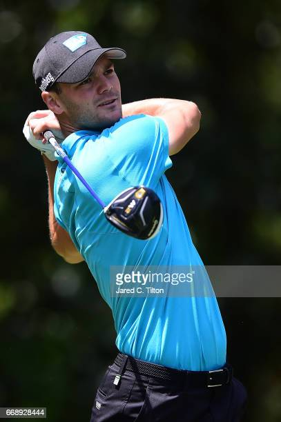 Martin Kaymer of Germany plays his tee shot on the fifth hole during the third round of the 2017 RBC Heritage at Harbour Town Golf Links on April 15...