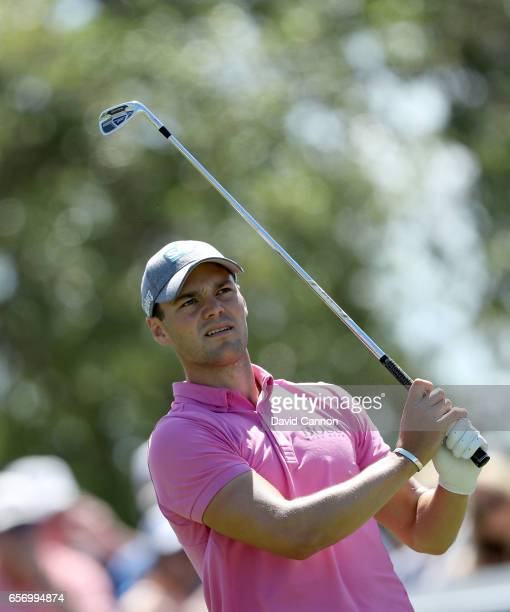 Martin Kaymer of Germany plays his tee shot on the par 3 seventh hole in his match against Dustin Johnson during the second round of the 2017 Dell...