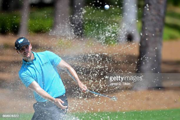 Martin Kaymer of Germany plays his third shot on the third hole during the third round of the 2017 RBC Heritage at Harbour Town Golf Links on April...