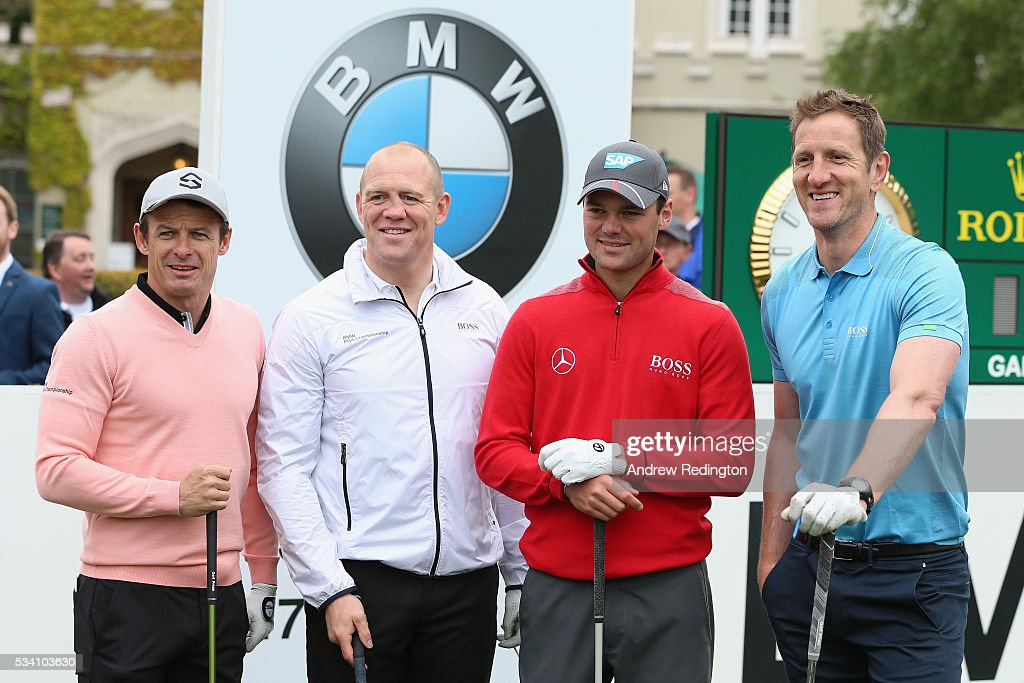 <a gi-track='captionPersonalityLinkClicked' href=/galleries/search?phrase=Martin+Kaymer&family=editorial&specificpeople=2143733 ng-click='$event.stopPropagation()'>Martin Kaymer</a> of Germany poses with <a gi-track='captionPersonalityLinkClicked' href=/galleries/search?phrase=Mike+Tindall&family=editorial&specificpeople=204210 ng-click='$event.stopPropagation()'>Mike Tindall</a>, Austin Healey and Will Greenwood (R) during the Pro-Am prior to the BMW PGA Championship at Wentworth on May 25, 2016 in Virginia Water, England.
