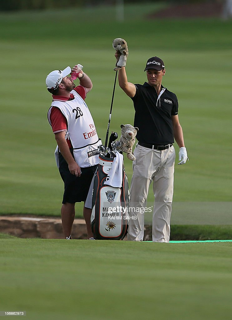 Martin Kaymer of Germany put away his club during the second round of the DP World Tour Championship in the Gulf emirate of Dubai on November 23, 2012. Kaymer, considered a PGA Tour rookie, rolled in the clinching putt for Europe in the 2012 Ryder Cup in Chicago.