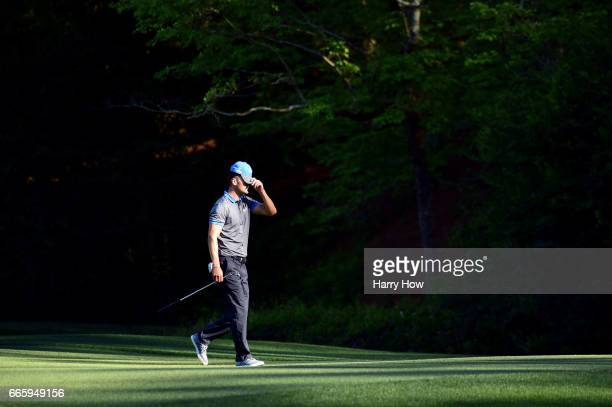 Martin Kaymer of Germany reacts as he walks to the 13th green during the second round of the 2017 Masters Tournament at Augusta National Golf Club on...