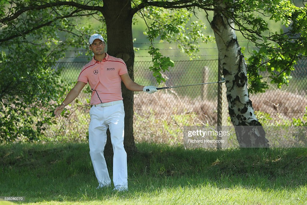 <a gi-track='captionPersonalityLinkClicked' href=/galleries/search?phrase=Martin+Kaymer&family=editorial&specificpeople=2143733 ng-click='$event.stopPropagation()'>Martin Kaymer</a> of Germany reacts on the 9th hole during day four of the BMW PGA Championship at Wentworth on May 29, 2016 in Virginia Water, England.