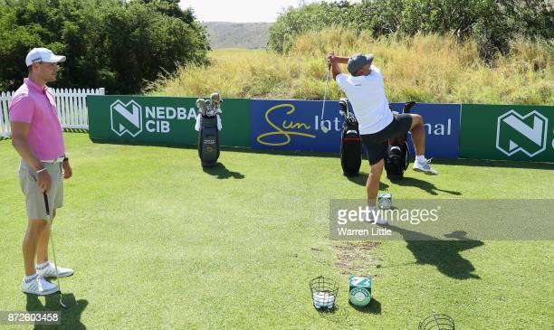 Martin Kaymer of Germany takes part in the Bad Coaching televised event ahead of the Nedbank Golf Challenge at Gary Player CC on November 7 2017 in...