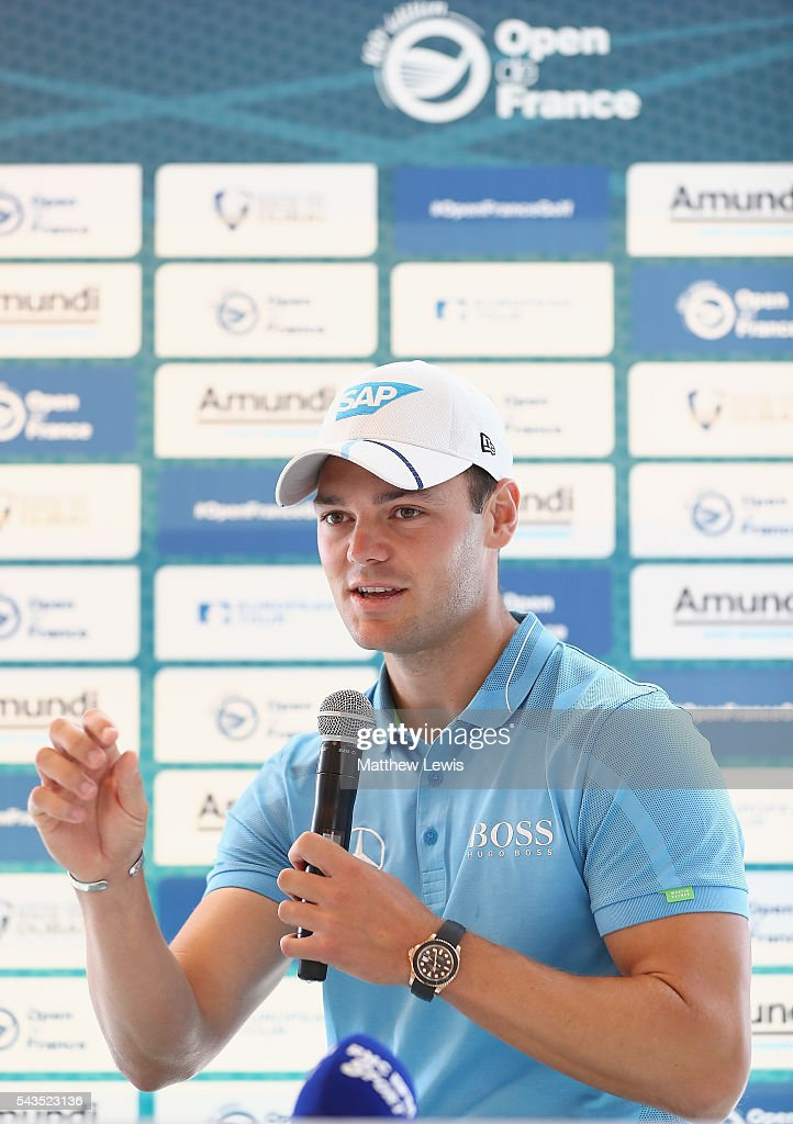 <a gi-track='captionPersonalityLinkClicked' href=/galleries/search?phrase=Martin+Kaymer&family=editorial&specificpeople=2143733 ng-click='$event.stopPropagation()'>Martin Kaymer</a> of Germany talks Thorbjorn Olesen of Denmark the media ahead of the 100th Open de France at Le Golf National on June 29, 2016 in Paris, France.