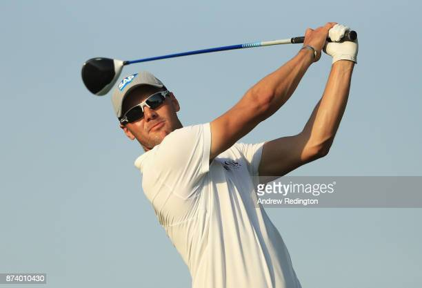 Martin Kaymer of Germany tees off on the 14th hole during the ProAm prior to the DP World Tour Championship at Jumeirah Golf Estates on November 14...