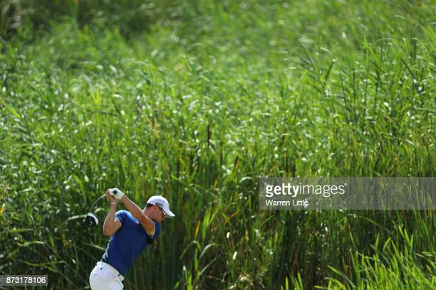 Martin Kaymer of Germany tees off on the 18th holecduring the final round of the Nedbank Golf Challenge at Gary Player CC on November 12 2017 in Sun...