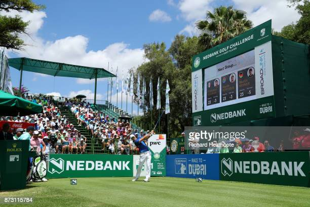 Martin Kaymer of Germany tees off on the 1st hole during the final round of the Nedbank Golf Challenge at Gary Player CC on November 12 2017 in Sun...
