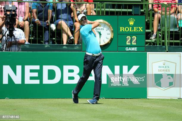 Martin Kaymer of Germany tees off on the 1st hole during the third round of the Nedbank Golf Challenge at Gary Player CC on November 11 2017 in Sun...