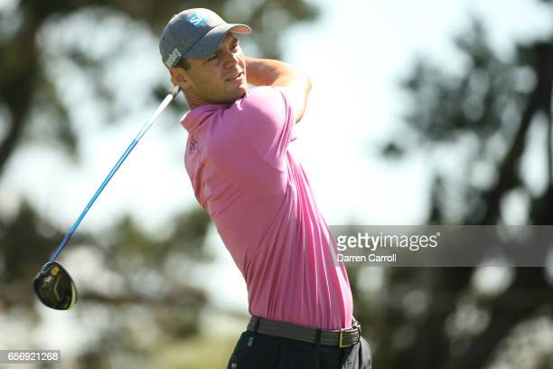 Martin Kaymer of Germany tees off on the 2nd hole of his match during round two of the World Golf ChampionshipsDell Technologies Match Play at the...