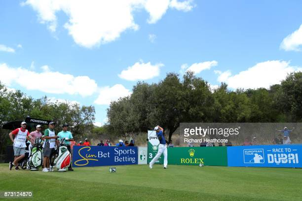 Martin Kaymer of Germany tees off on the 3rd hole during the final round of the Nedbank Golf Challenge at Gary Player CC on November 12 2017 in Sun...