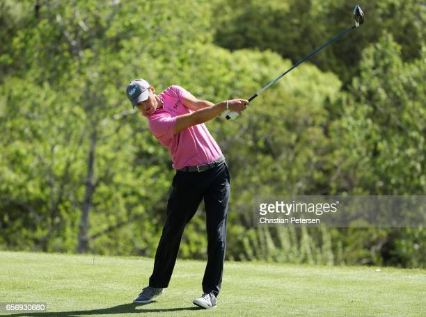 Martin Kaymer of Germany tees off on the 3rd hole of his match during round two of the World Golf ChampionshipsDell Technologies Match Play at the...
