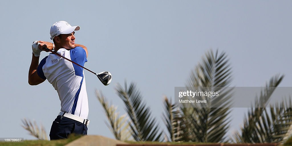 Martin Kaymer of Germany tees off on the 3rd tee during day four of the Abu Dhabi HSBC Golf Championship at Abu Dhabi Golf Club on January 20, 2013 in Abu Dhabi, United Arab Emirates.