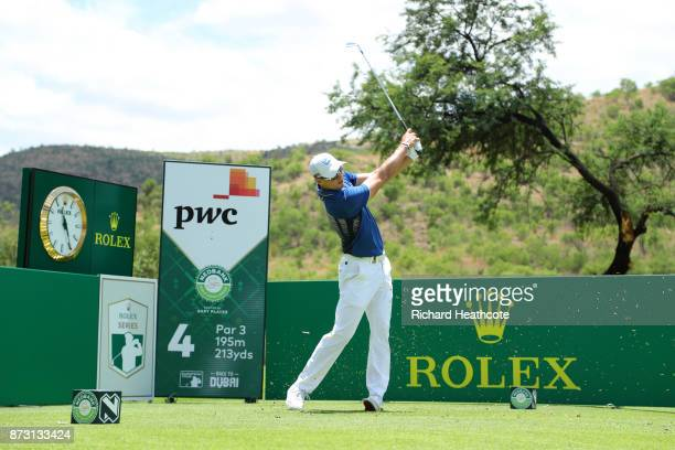 Martin Kaymer of Germany tees off on the 4th hole during the final round of the Nedbank Golf Challenge at Gary Player CC on November 12 2017 in Sun...