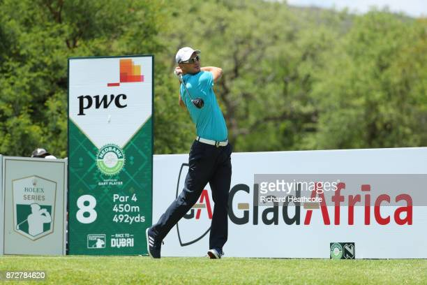 Martin Kaymer of Germany tees off on the 8th hole during the third round of the Nedbank Golf Challenge at Gary Player CC on November 11 2017 in Sun...
