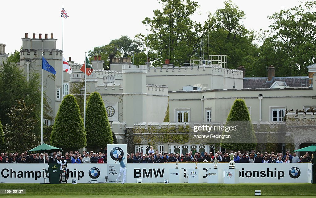 Martin Kaymer of Germany tees off on the first hole during the third round of the BMW PGA Championship on the West Course at Wentworth on May 25, 2013 in Virginia Water, England.