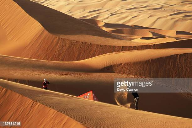 Martin Kaymer of Germany the defending champion of the HSBC Abu Dhabi Championship plays from amongst the 250ft high sand dunes in Abu Dhabi's Liwa...