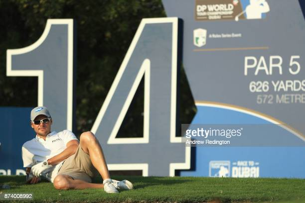 Martin Kaymer of Germany waits on the 14th tee during the ProAm prior to the DP World Tour Championship at Jumeirah Golf Estates on November 14 2017...