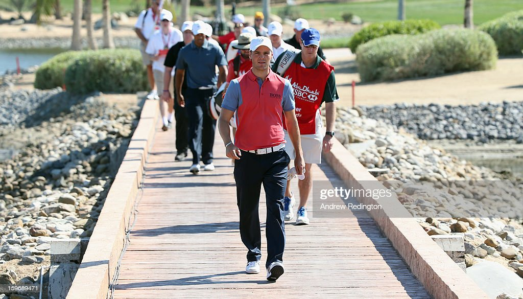 Martin Kaymer of Germany walks across the bridge from the sixth green during the second round of The Abu Dhabi HSBC Golf Championship at Abu Dhabi Golf Club on January 18, 2013 in Abu Dhabi, United Arab Emirates.