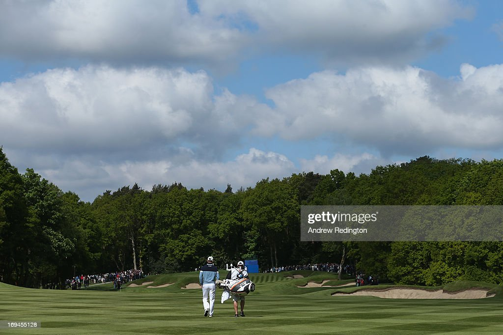 Martin Kaymer of Germany walks down the first fairway during the third round of the BMW PGA Championship on the West Course at Wentworth on May 25, 2013 in Virginia Water, England.