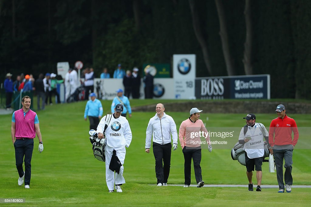 <a gi-track='captionPersonalityLinkClicked' href=/galleries/search?phrase=Martin+Kaymer&family=editorial&specificpeople=2143733 ng-click='$event.stopPropagation()'>Martin Kaymer</a> of Germany walks with <a gi-track='captionPersonalityLinkClicked' href=/galleries/search?phrase=Mike+Tindall&family=editorial&specificpeople=204210 ng-click='$event.stopPropagation()'>Mike Tindall</a>, Austin Healey and Will Greenwood during the Pro-Am prior to the BMW PGA Championship at Wentworth on May 25, 2016 in Virginia Water, England.