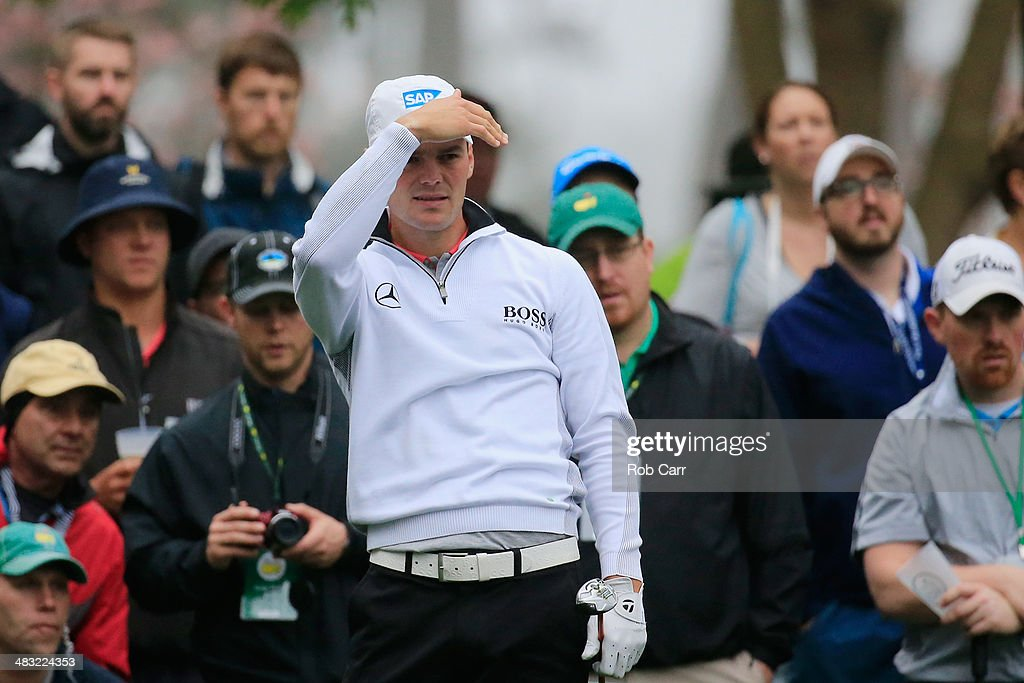 Martin Kaymer of Germany watches a shot during a practice round prior to the start of the 2014 Masters Tournament at Augusta National Golf Club on April 7, 2014 in Augusta, Georgia.