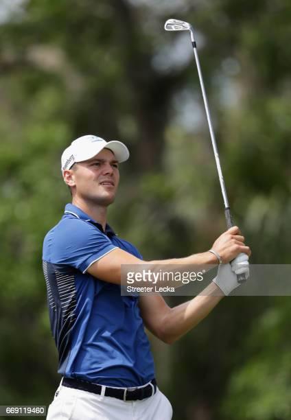 Martin Kaymer of Germany watches a tee shot on the 14th hole during the final round of the 2017 RBC Heritage at Harbour Town Golf Links on April 16...