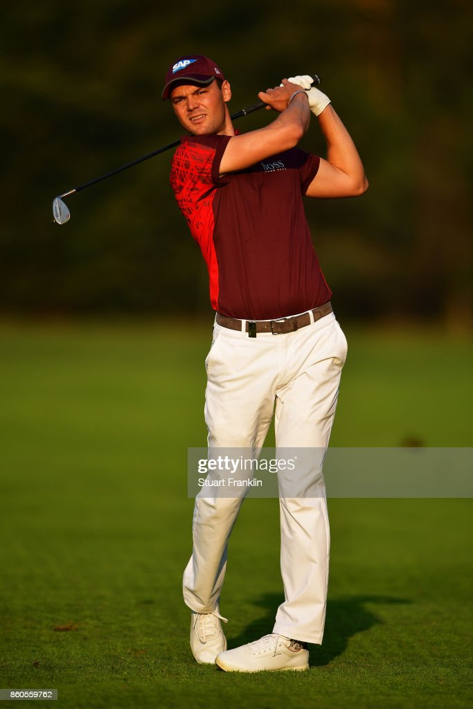 Martin Kaymer of Germany watches his shot on Day One of the Italian Open at Golf Club Milano - Parco Reale di Monza on October 12, 2017 in Monza, Italy.