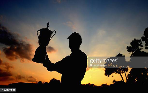 Martin Kaymer of Germany with the winners trophy after the final found of the US Open at the Pinehurst resort on the Pinehurst number 2 course on...