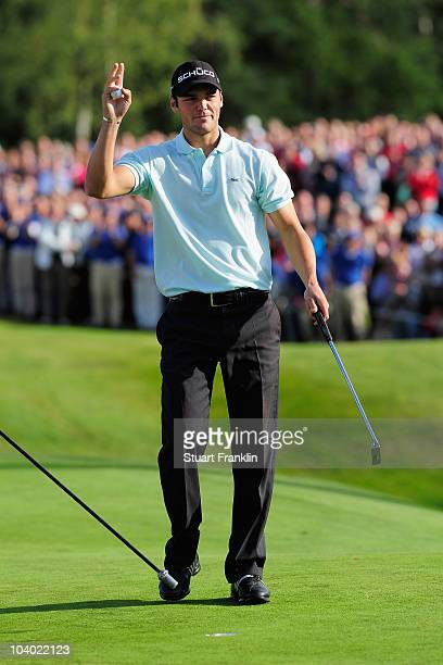 Martin Kaymer of Germay celebrates winning on the 18th hole during the final round of The KLM Open Golf at The Hillversumsche Golf Club on September...