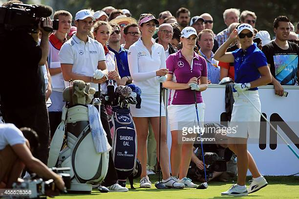 Martin Kaymer Sandra Gal Caroline Masson and Carin Koch are seen during the Solheim Cup Charity Promotion Event Day 2 at the Golf Club St LeonRoth on...