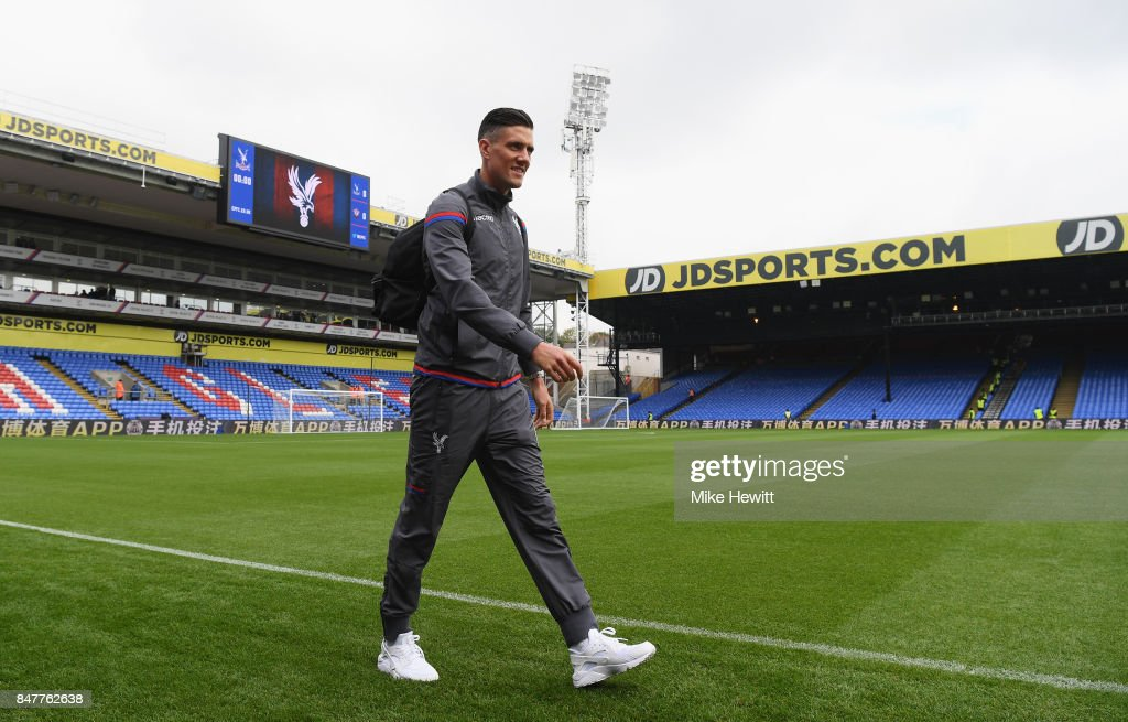 Martin Kelly of Crystal Palace arrives at the stadium prior to the Premier League match between Crystal Palace and Southampton at Selhurst Park on September 16, 2017 in London, England.