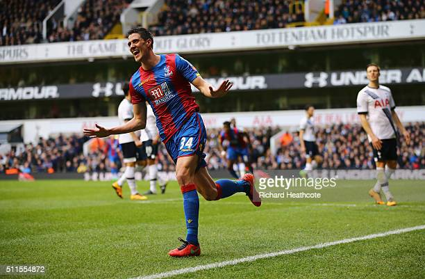 Martin Kelly of Crystal Palace celebrates scoring the opening goal during the Emirates FA Cup Fifth Round match between Tottenham Hotspur and Crystal...